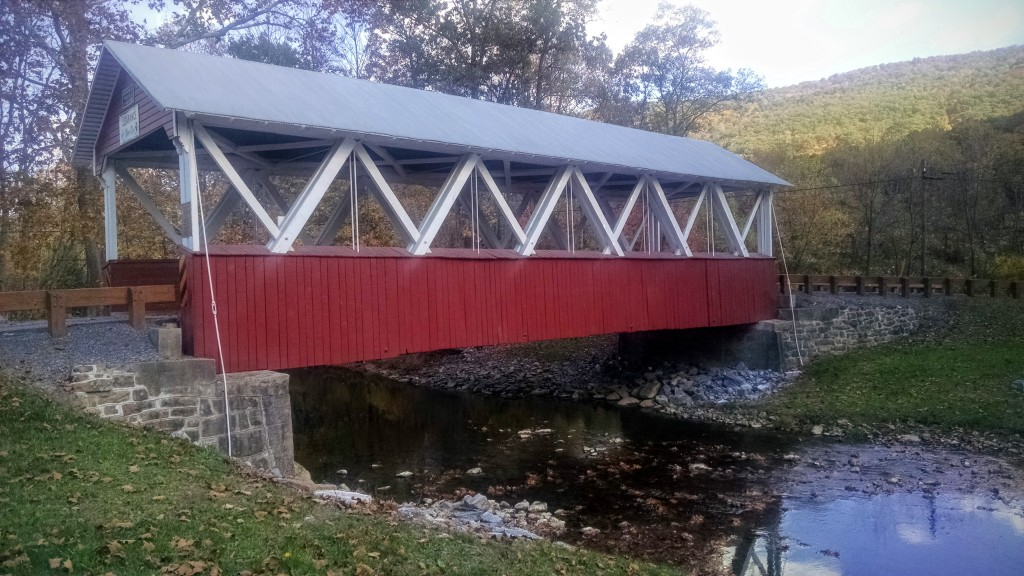 A covered bridge near Shad  e Gap, PA